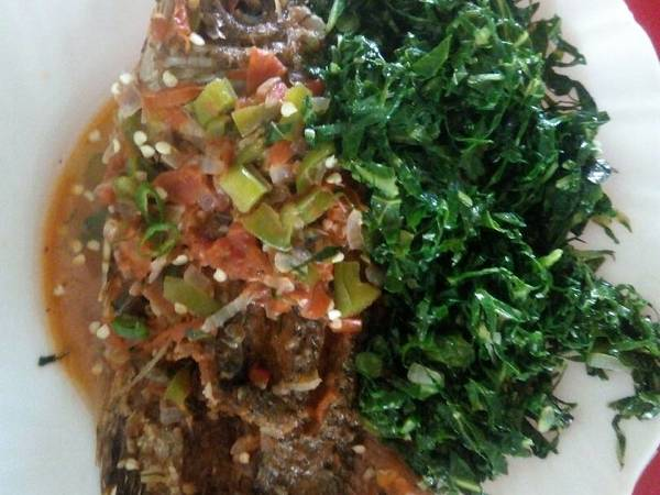 Fish stew and greens