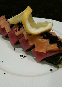Brad's lobster, ahi tuna, and smoked salmon sushi roll