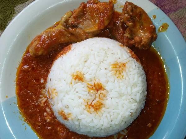 White rice and chicken stew