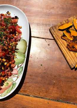 Fresh trout tartare with grilled squash