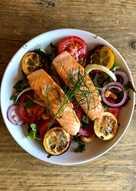 Roast Lemon, Tomato, Fennel and Salmon Salad