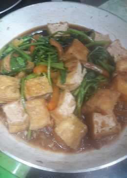 resep masakan stir fry tofu and water spinach with oyster sauce