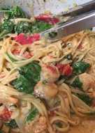 One pot cheesy shrimp pasta