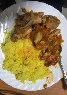 Chicken Stew and Tumeric Rice......(Healthy delicious food)