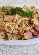 My Smoked Sausage Garlic Chicken & a Veg Rice