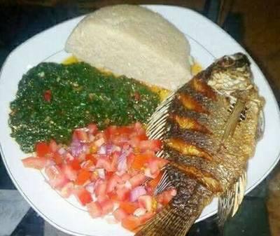Fried Fish, Kales and Kachumbari With Ugali
