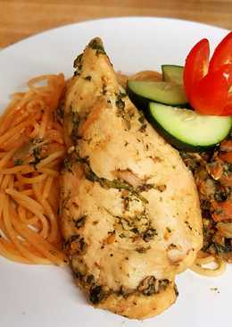 Mixed veges and pasta chicken breast