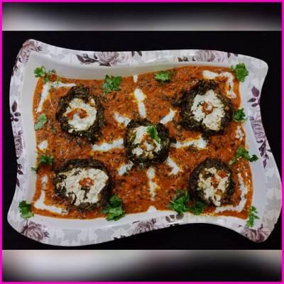 Shaam savera - Paneer stuffed Spinach koftas