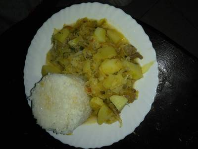Boiled rice with stew
