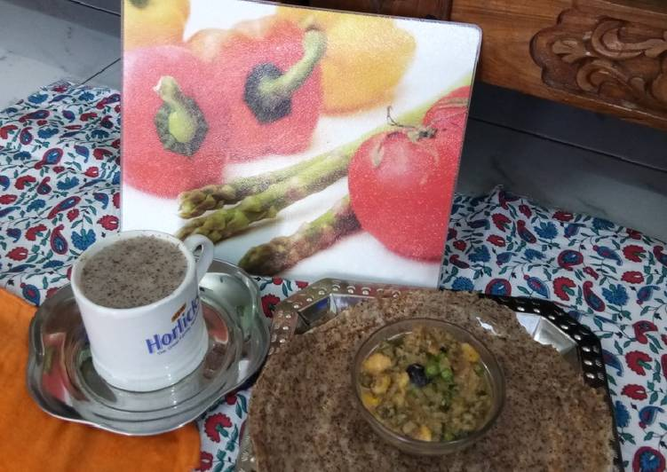 Ragi Dosa with Salad Curry and Ragi Coffee