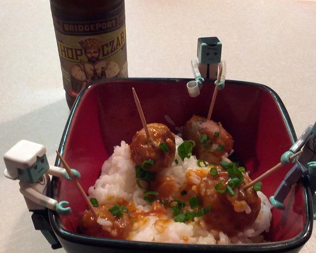Turkey Sriracha Meatballs Over Jasmine Rice