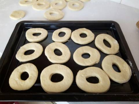 Place the shaped dough onto a tray and cover with a clean towel. leave for 30 - 60 minutes.