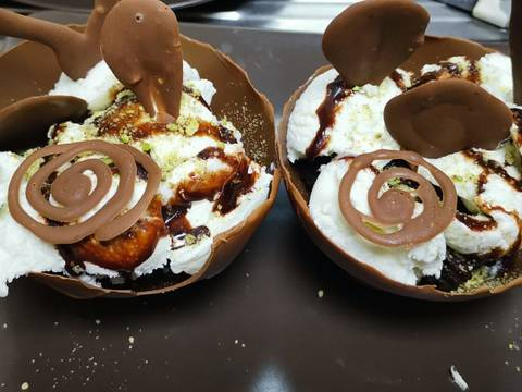 Chocolate Cup With Brownie And Icecream On Top Recipe By Nafeesa