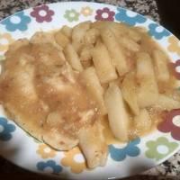Filetes de panga con patatas confitadas