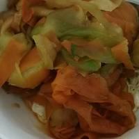 Kinpira de zanahoria y calabacín