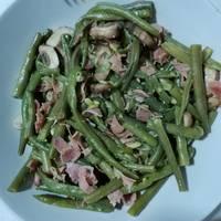Judías verdes con champiñones y jamón