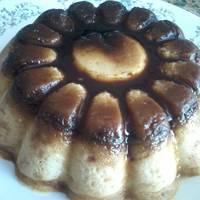 Flan de galletas y manzana al microondas