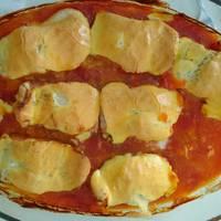 Bacalao fresco con tomate y gratinado con langostinos - Bacalao fresco con tomate ...