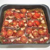 Pizza de verduras (masa de brócoli)