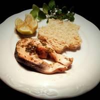 Salmón en papillot y arroz con leche de coco y parmesano