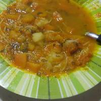 Sopa de espaguetti cabello de ángel casera