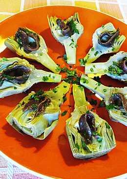 Medias alcachofas con anchoas - tapas superfácil