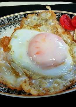 Huevo de oca con foie gras y queso de cabra