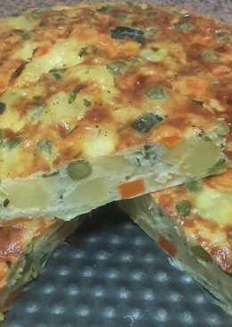 Pastel de verduras al horno delicioso y rápido / comida de Marru