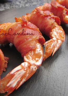 Pincho de langostino y bacon
