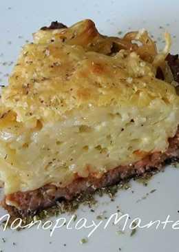 Pastel de espaguetis y carne, sin lactosa, en GME, F y G y tradicional