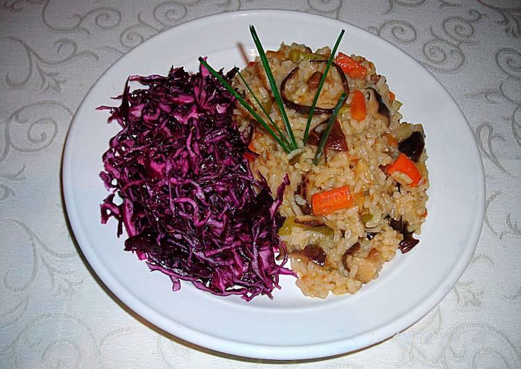 Arroz con setas shiitake y ensalada de col lombarda for Como cocinar col lombarda