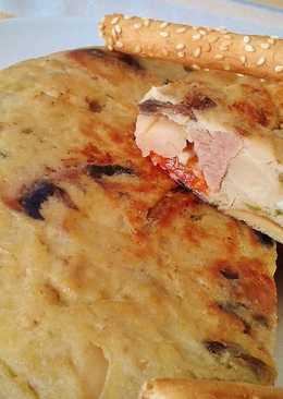 Tortilla de alubias, cordero y verduras