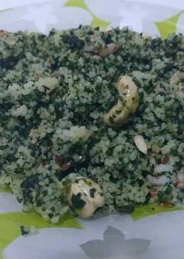 Cuscús con espinacas, gambas y frutos secos