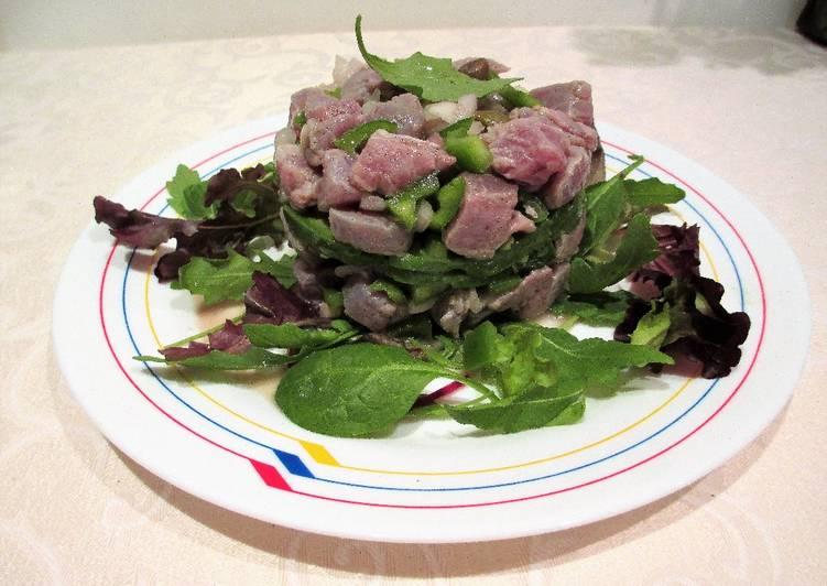Tartar semi picante de at n en verde y morado al lim n - Cocinar atun congelado ...