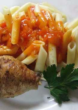 Pollo al horno con macarrones en salsa