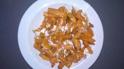 Boniatos fritos con queso de cabra