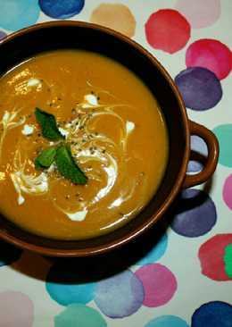 Crema de Verduras con hierbabuena y queso batido