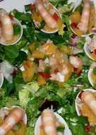 Cucharitas con langostinos en vinagreta