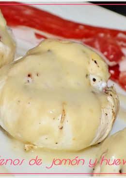 Champiñones rellenos de jamón y huevos de codorniz. (Thermomix)