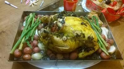 Pollo al horno con romero