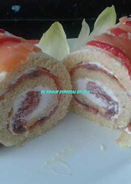 Brazo de gitano con salmón y anchoas