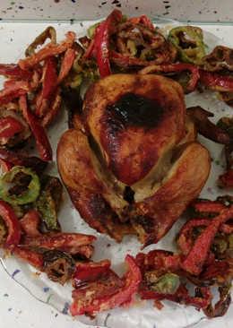Pollo asado con anís y pimientos fritos con tempura