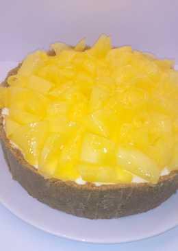 Pastel de queso al limón con mango