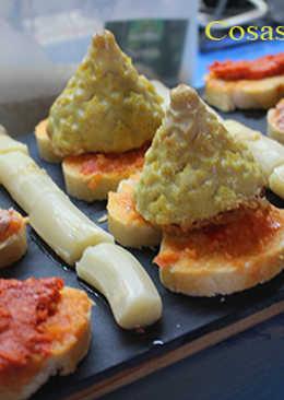 Volcanes de tortilla de patata y cebolla