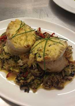 Popiette de pescado 🍱 en colchón de vegetales 🍆