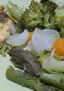 Verduras al vapor con pechuga de pavo