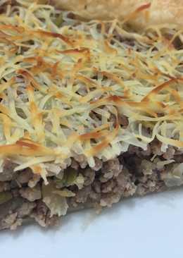 Pastel de carne con hojaldre rápido y fácil