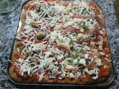 Pizza mixta integral