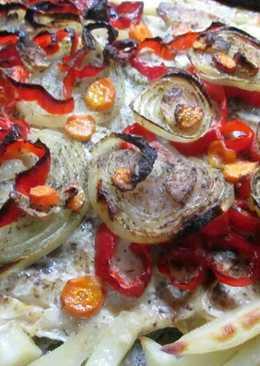 Palometa con verduras y patatas al horno