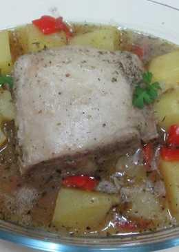 Lomo de cerdo y patatas con cerveza